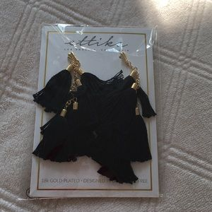 Ettika Black Tassle Earrings